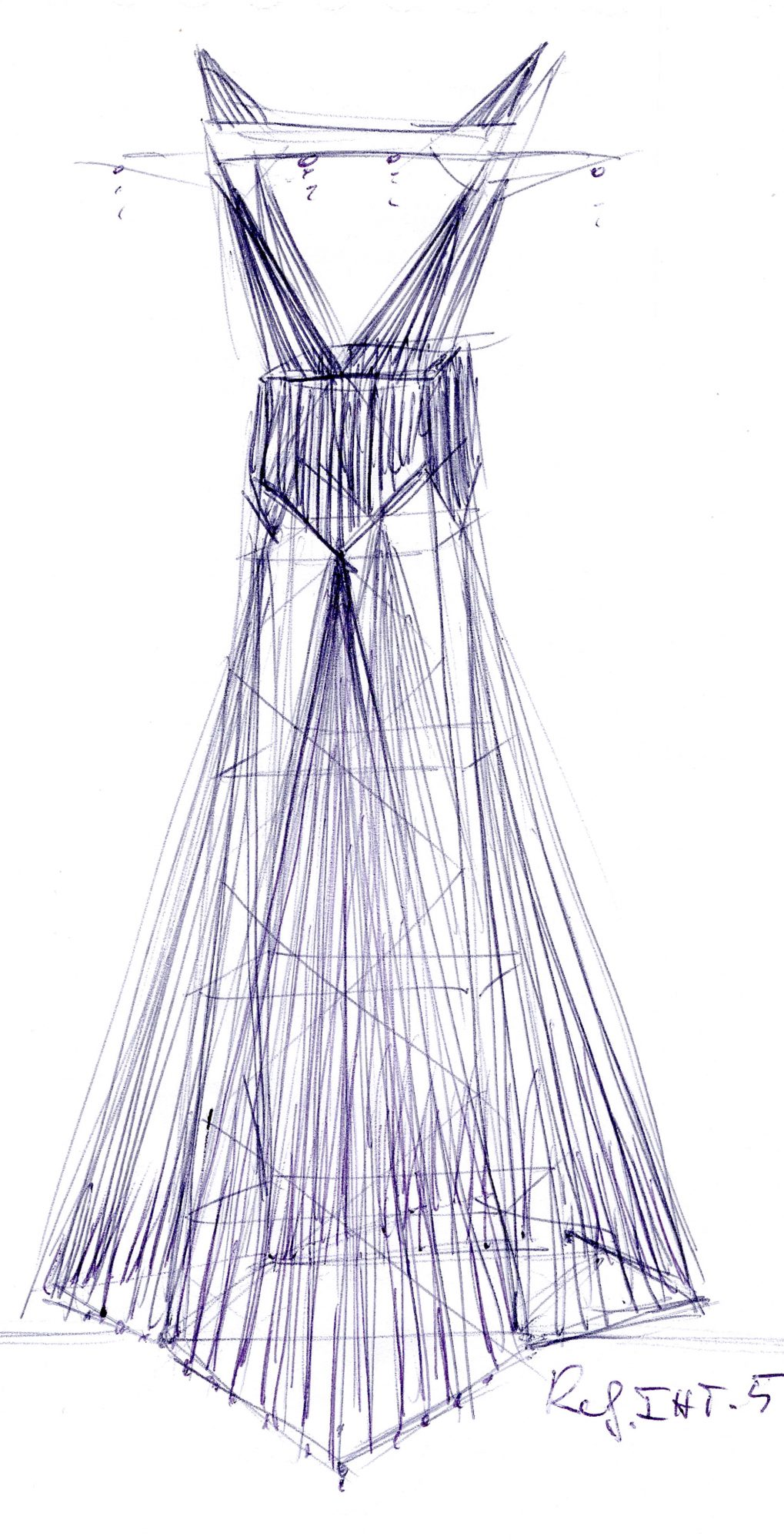Gown, drawing for monumental high-voltage installation