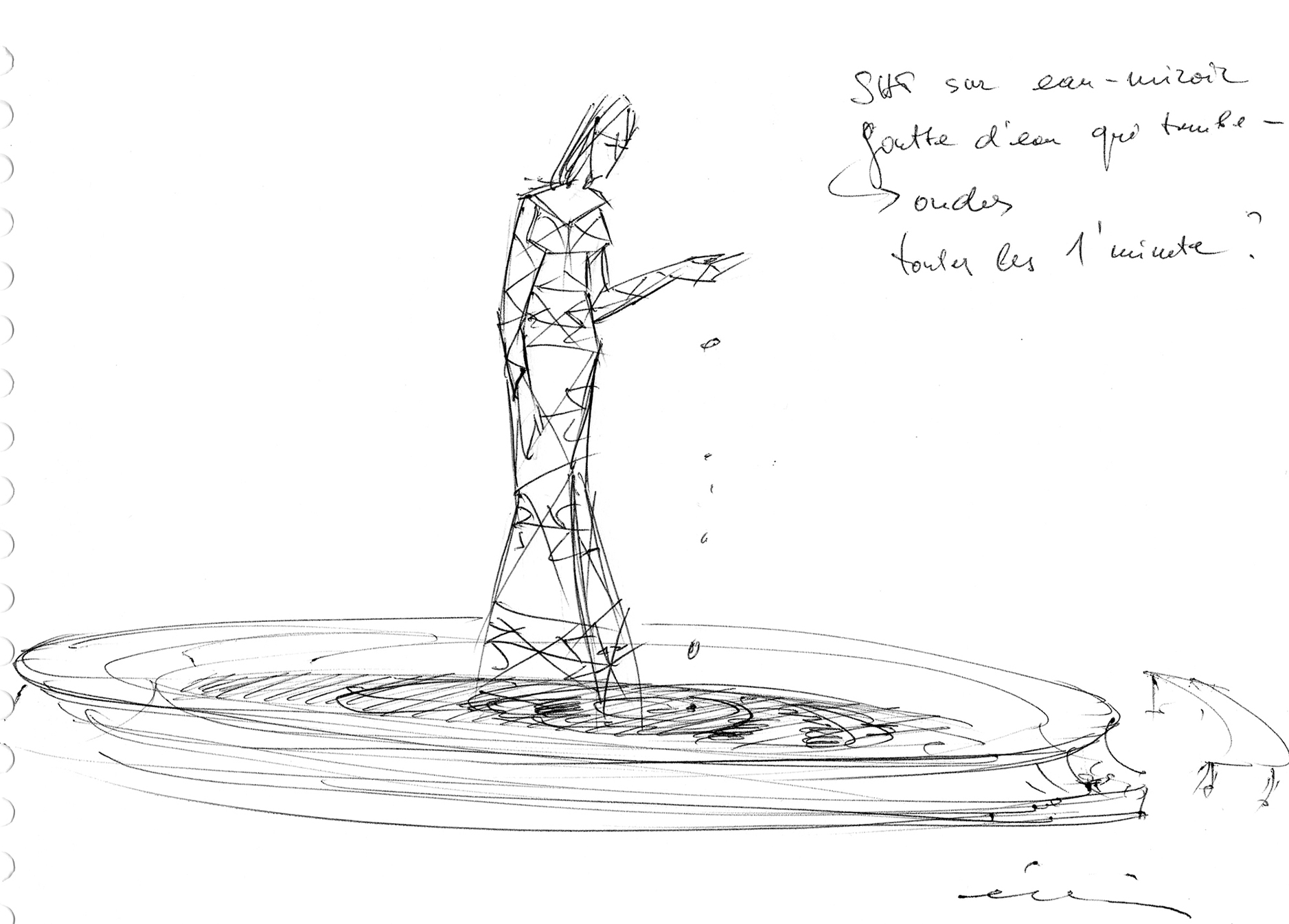 Ondine, project for a Pylon-Sculpture on a mirror of water