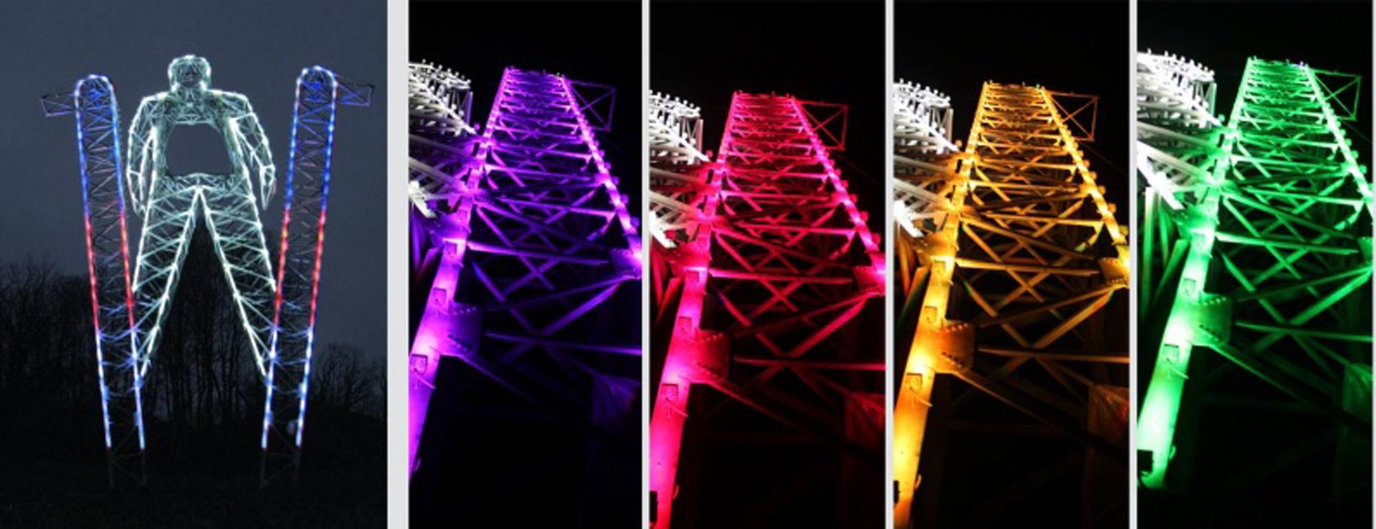 Sochi Skier, lighting stage