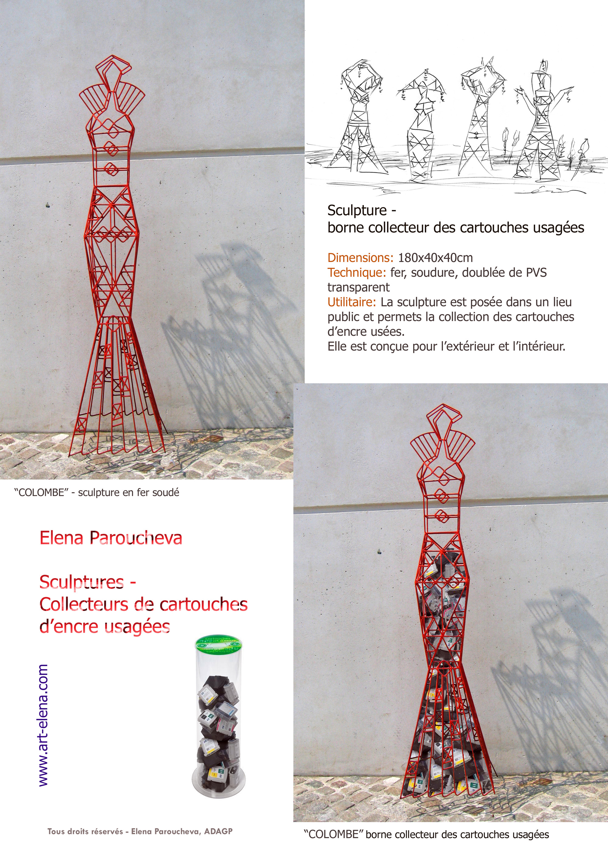 Colombe, sculpture for used battery recovery terminal